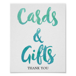 Watercolor Calligraphy Beach Cards and Gifts Sign