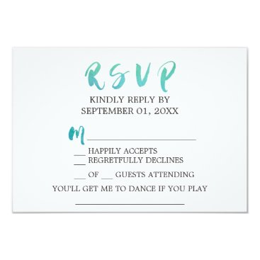 Beach Themed Watercolor Calligraphy Beach Song Request RSVP Card