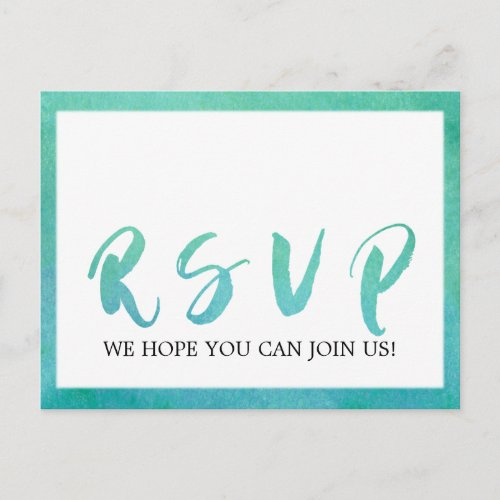 Watercolor Calligraphy Beach Song Request RSVP Invitation Postcard