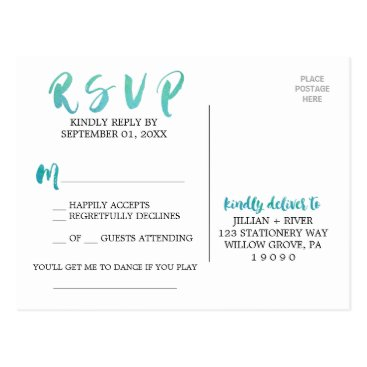 Beach Themed Watercolor Calligraphy Beach Song Request RSVP Postcard