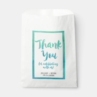 Watercolor Calligraphy Beach Wedding Favor Bags