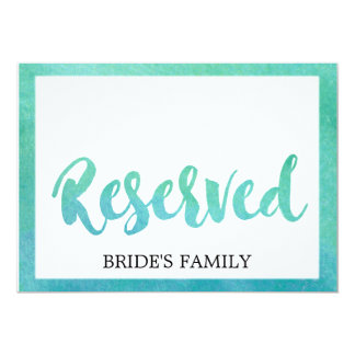 Watercolor Calligraphy Beach Wedding Reserved Sign Card