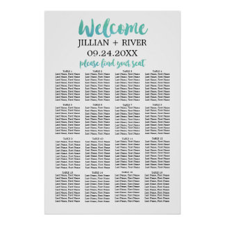 Watercolor Calligraphy Beach Wedding Seating Chart