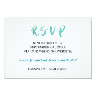 Watercolor Calligraphy Beach Wedding Website RSVP Card