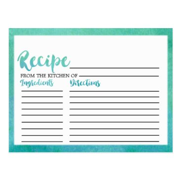 Beach Themed Watercolor Calligraphy Bridal Shower Recipe Cards