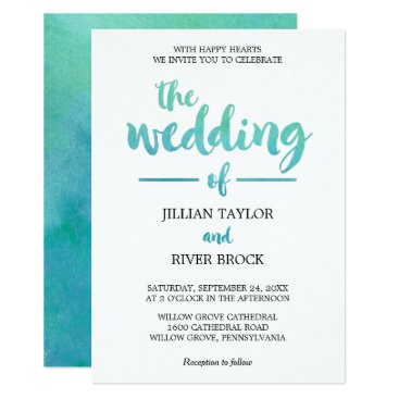 Beach Themed Watercolor Calligraphy Destination Beach Wedding Card