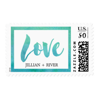 "Watercolor Calligraphy Destination ""Love"" Wedding Postage"