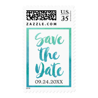 Watercolor Calligraphy Destination Save the Date Postage