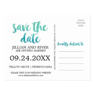 Beach Themed Watercolor Calligraphy Destination Save the Date Postcard