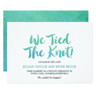 Watercolor Calligraphy Elopement Announcement
