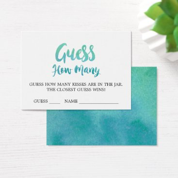 Beach Themed Watercolor Calligraphy Guess How Many Kisses Cards