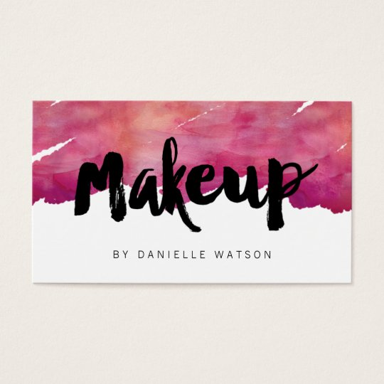 Watercolor calligraphy makeup artist business card zazzle watercolor calligraphy makeup artist business card colourmoves