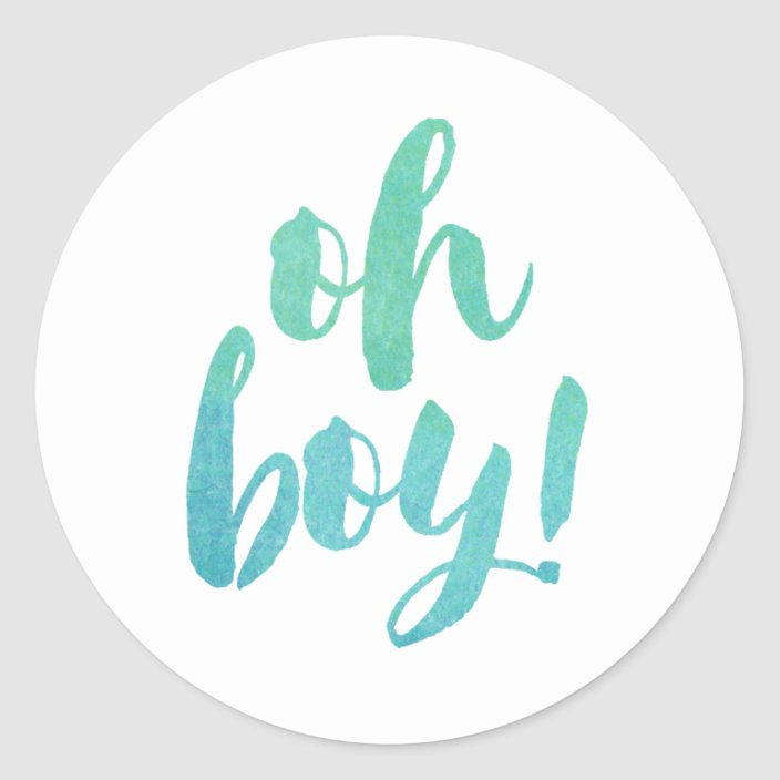 Oh Boy Baby Shower Heart Glossy Stickers