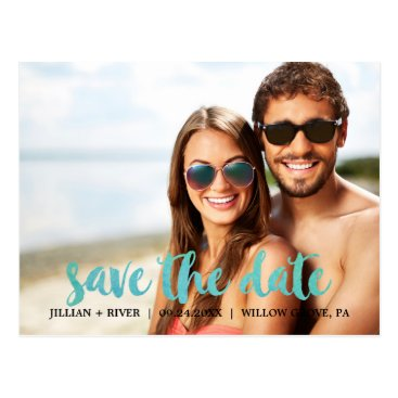 Beach Themed Watercolor Calligraphy Overlay Save the Date Photo Postcard