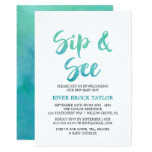 Watercolor Calligraphy Sip and See Invitation