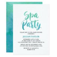 Watercolor Calligraphy Spa Party Invitation