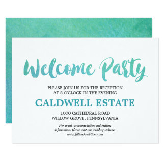 Watercolor Calligraphy Welcome Party Insert Card