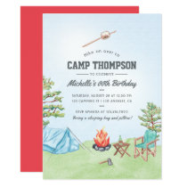Watercolor Camping Birthday Party Invitation