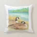 Watercolor Canada Geese Nesting Family Throw Pillows