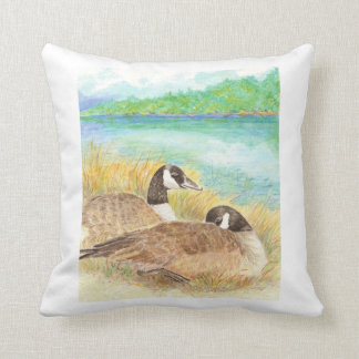 Watercolor Canada Geese Nesting Family Throw Pillow