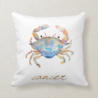 Watercolor Cancer Crab Throw Pillow