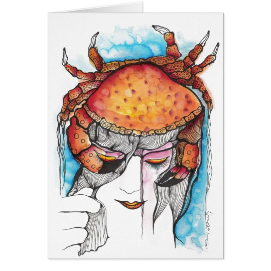 Watercolor Cancer Crab Woman Card