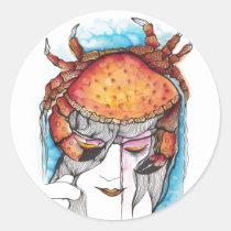 cancer, crab, woman, female, portrait, horoscope, art, sea, artistic, zodiac, creative, girl, artsprojekt, sign, Sticker with custom graphic design