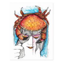 cancer, crab, woman, female, portrait, horoscope, art, sea, artistic, zodiac, creative, girl, artsprojekt, sign, Postcard with custom graphic design