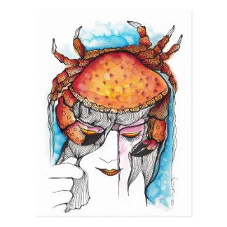 Watercolor Cancer Crab Woman Postcard