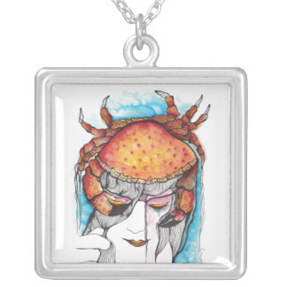 Watercolor Cancer Crab Woman Silver Plated Necklace