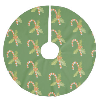 Watercolor Candy Cane & Holiday Brushed Polyester Tree Skirt