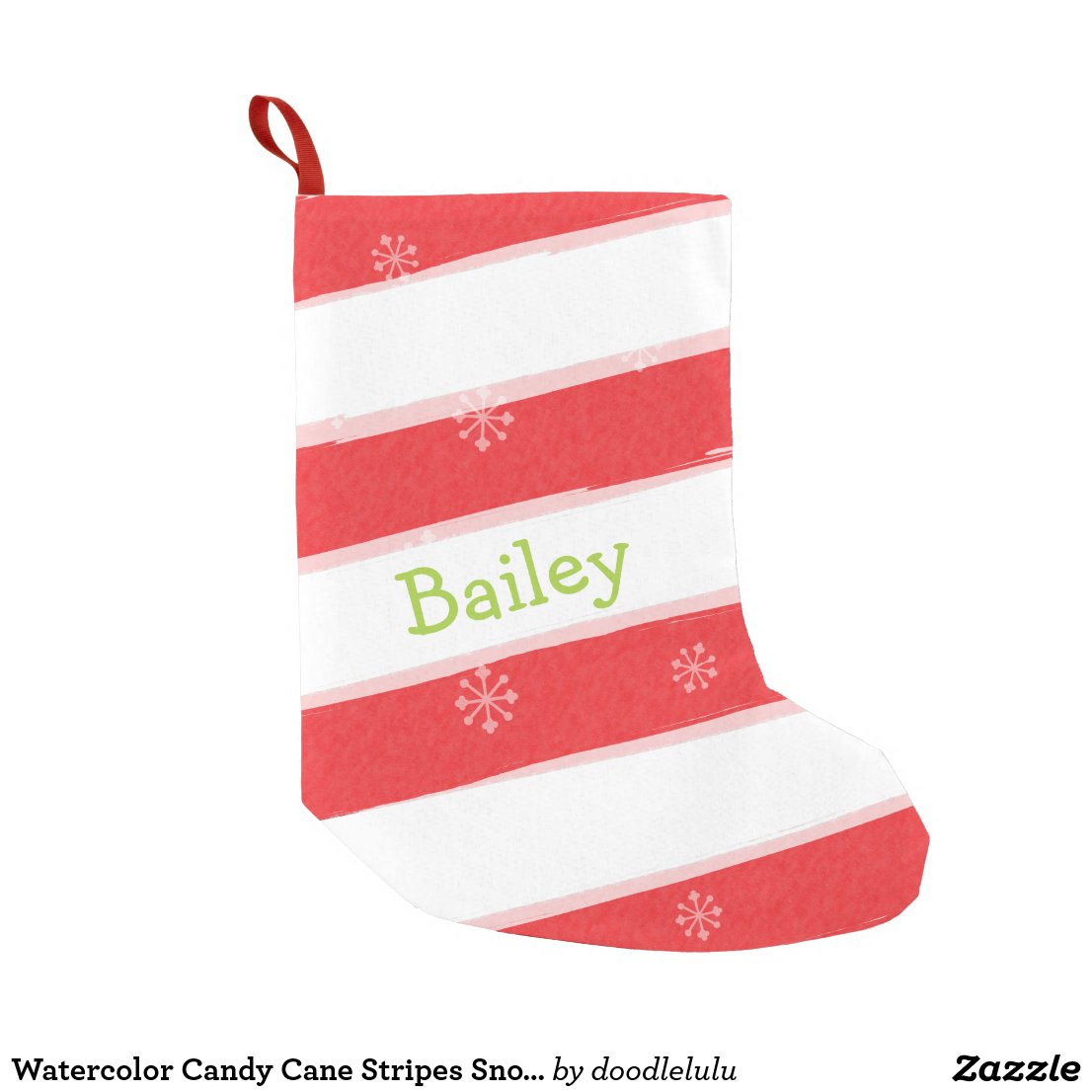 Watercolor Candy Cane Stripes Snowflakes Small Christmas Stocking