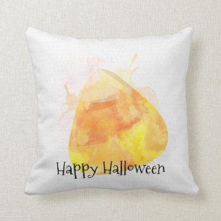 Watercolor Candy Corn Halloween Home Decor Throw Pillow