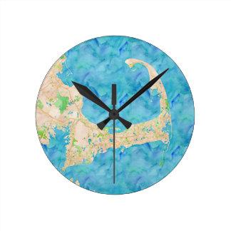Watercolor Cape Cod Map Round Wall Clocks