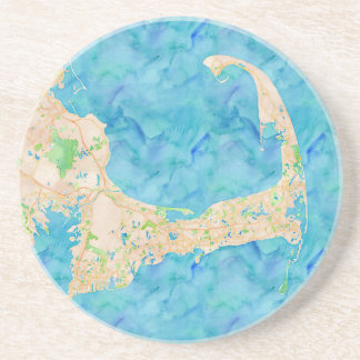 Watercolor Cape Cod Map Drink Coaster