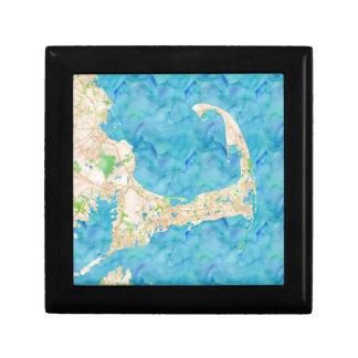 Watercolor Cape Cod Map Jewelry Box