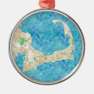 Watercolor Cape Cod Map Metal Ornament