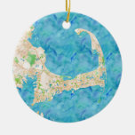 Watercolor Cape Cod Map Double-Sided Ceramic Round Christmas Ornament