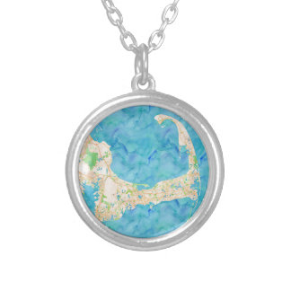 Watercolor Cape Cod Map Silver Plated Necklace