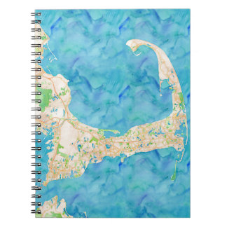 Watercolor Cape Cod Map Spiral Notebook