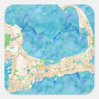 Watercolor Cape Cod Map Square Stickers
