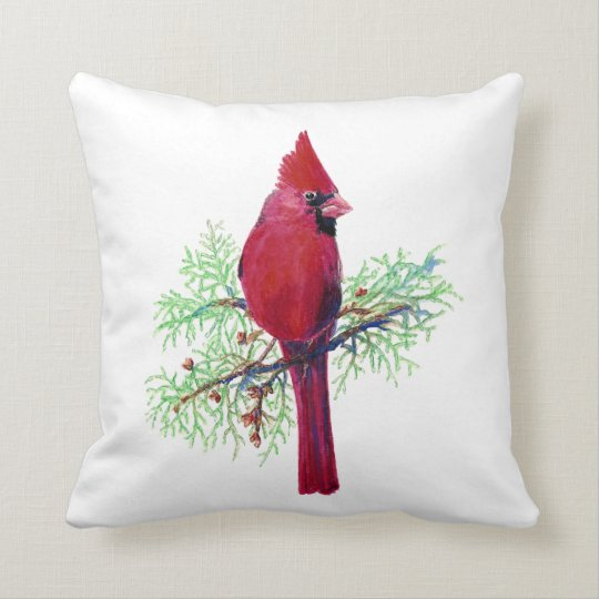 Watercolor Cardinal, Red Bird Throw Pillow
