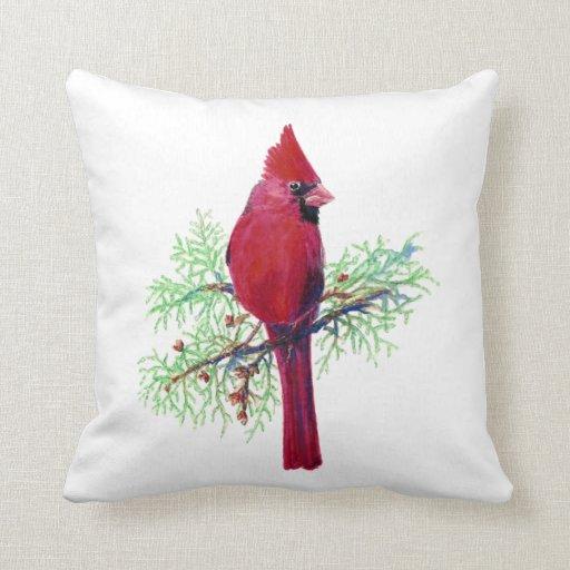 Cardinal Bird Throw Pillows : Watercolor Cardinal, Red Bird Throw Pillows