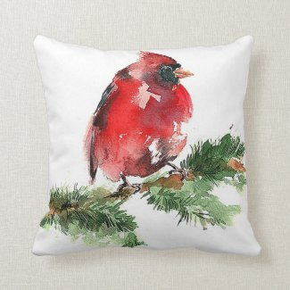 Watercolor Cardinal Throw Pillow