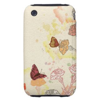 Watercolor Carnations & Butterflies iPhone 3gs Cas iPhone 3 Tough Covers