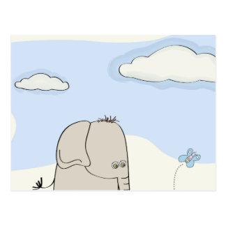 Watercolor Cartoon Elephant Postcard