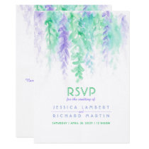 Watercolor cascading green purple wedding RSVP Card