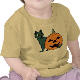 Watercolor Cat and Pumpkin Tshirt