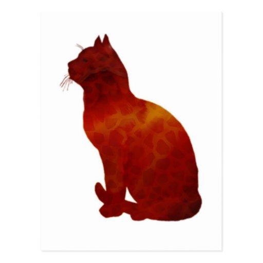 Watercolor Cat Silhouette Post Card
