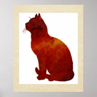 Watercolor Cat Silhouette Poster